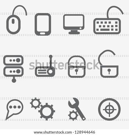 Computer icon set,vector - stock vector