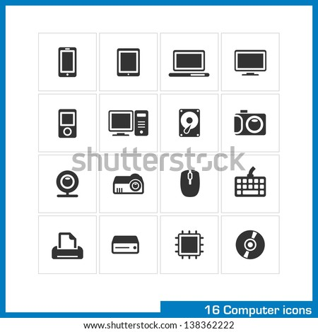 Computer icon set. Vector black pictograms for web, interface design: phone, tablet, notebook, monitor, mp3 player, PC, hard drive, camera, web cam, projector, mouse, keyboard, print and CD symbol - stock vector
