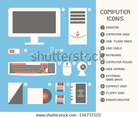 Computer Icon, vector - stock vector