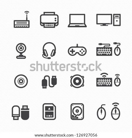 Computer Icons and and Computer Accessories Icons with White Background - stock vector