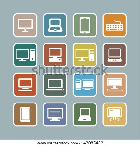 Computer Icons and computer accessories icons. - stock vector