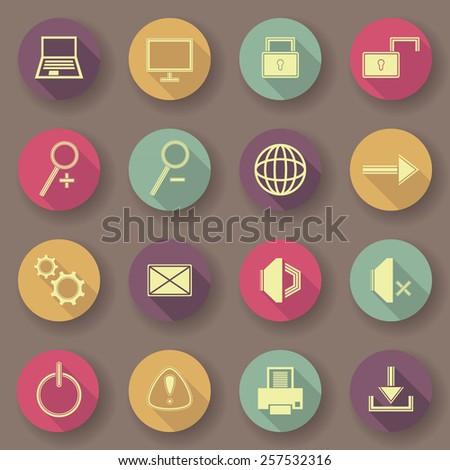 Computer icons, bright colors. Vector buttons. Original design        - stock vector