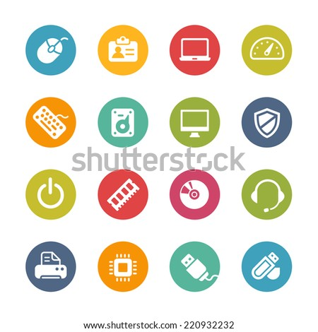Computer Icons // Fresh Colors -- Icons and buttons in different layers, easy to change colors. - stock vector