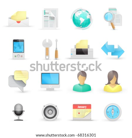Computer icons on a white background The base map is from https://zulu.ssc.nasa.gov/mrsid/ - stock vector