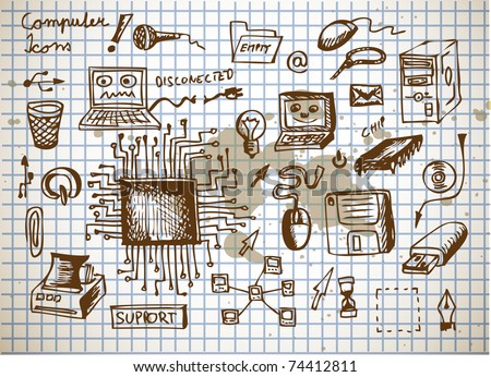 computer icons on the dirty paper - stock vector