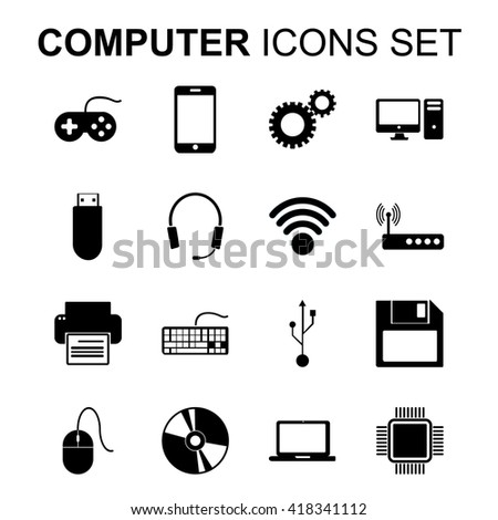 Computer icons set. Technology silhouette symbols. Flat design vector illustration