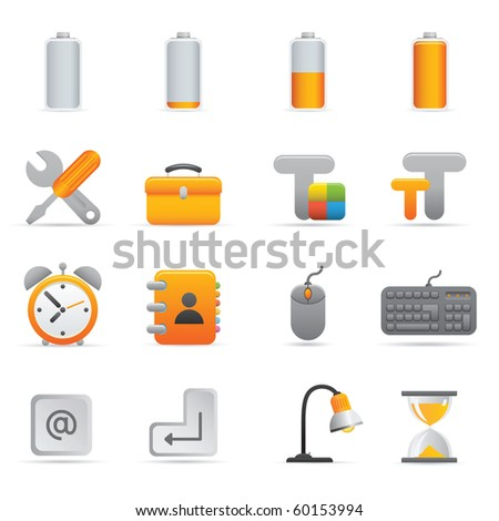 Computer Icons | Yellow01  Professional set for your website, application, or presentation - stock vector