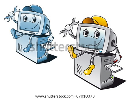 Computer in cartoon style for repair service concept. Rasterized version also available in gallery - stock vector