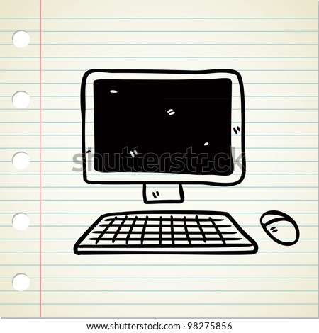 computer in doodle style - stock vector