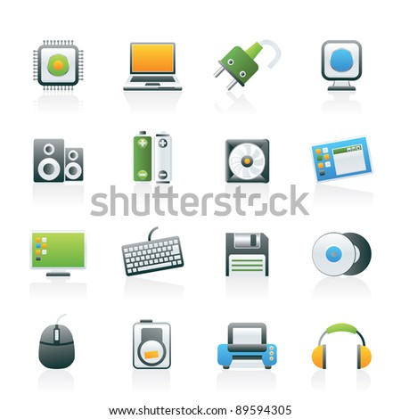 Computer Items and Accessories icons - vector icon set - stock vector