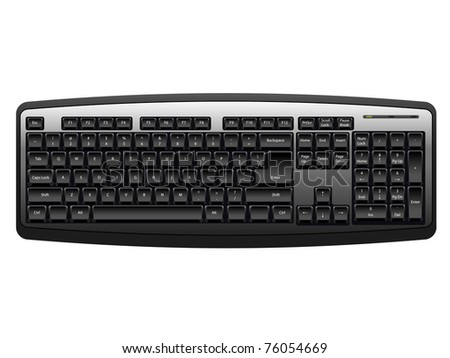 computer keyboard in black color - stock vector
