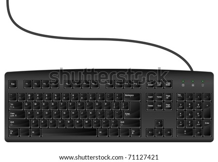 Computer keyboard on a white background. Vector illustration.