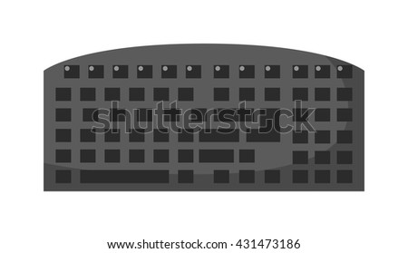 Computer keyboard vector flat icon. Isometric icon computer keyboard vector. Computer keyboard isolated on white. Business technology equipment icon. Computer keyboard icon. - stock vector