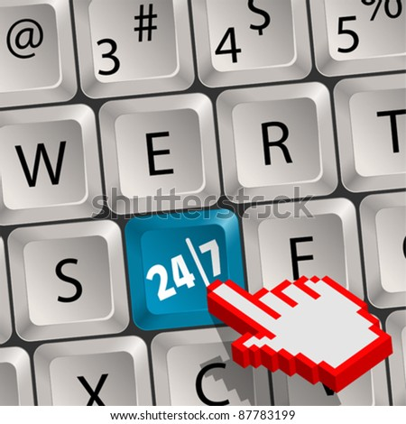 Computer keyboard with a key twenty four hours by seven days and Pixel Hand Cursor - stock vector