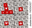 Computer keyboard with a Love Icon for Valentine's Day, vector illustration - stock photo
