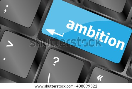 computer keyboard with ambition button - business concept. Keyboard keys icon button vector. keyboard keys, keyboard button, keyboard icon - stock vector