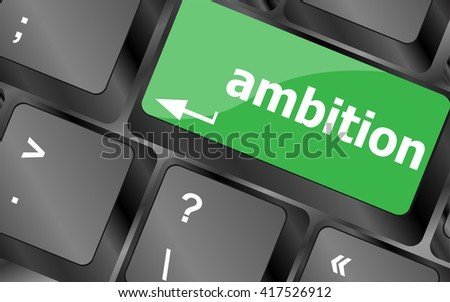 computer keyboard with ambition button - business concept. Keyboard keys icon button vector - stock vector