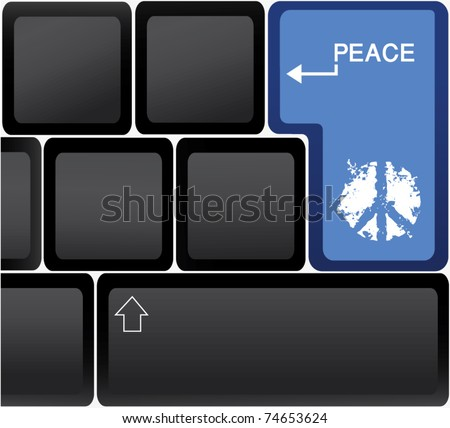 Computer keyboard with blue peace key - stock vector