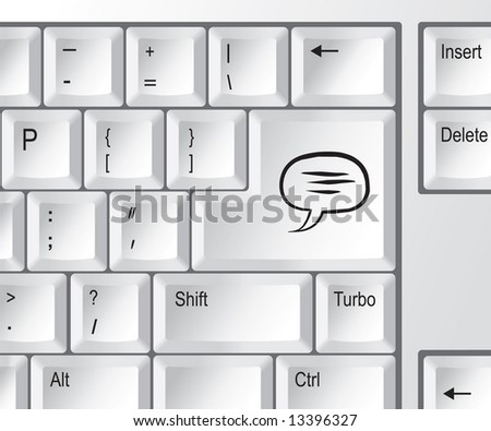"Computer keyboard with ""chat"" key - stock vector"