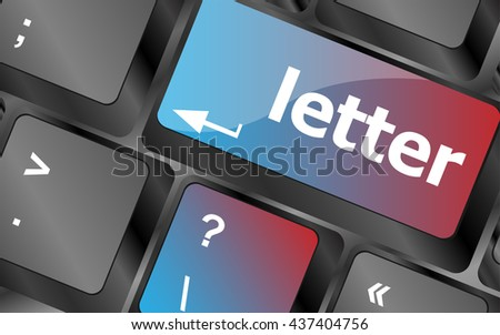 Computer keyboard with letter key - internet concept . keyboard keys. vector illustration - stock vector