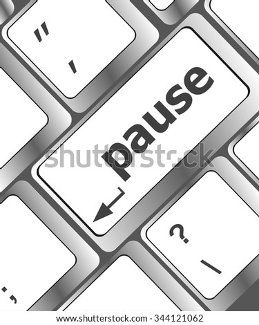 Computer keyboard with pause key - business concept vector illustration