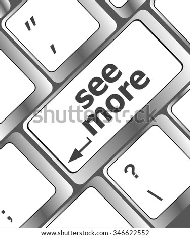 computer keyboard with see more keypad, search concept vector illustration - stock vector