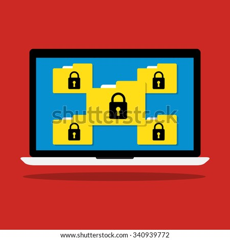 Computer laptop display icon folder with key lock of ransomware icon virus encrypted file. Vector flat illustration business data security  concept. - stock vector