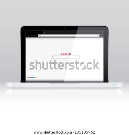 Computer laptop, powered on, with internet browser window on the screen - stock vector