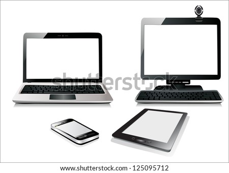 Computer, Laptop Tablet and Phone. Set of Computer Devices. - stock vector