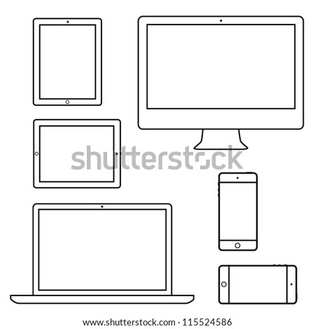 Computer laptop tablet phone isolated outlines eps10 vector - stock vector