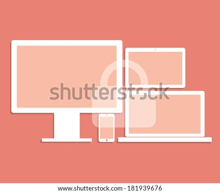 Computer laptop tablet smartphone device security lock concept. Vector illustration. - stock vector