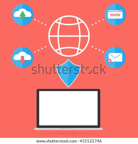 Computer laptop with firewall anti virus for protect malware virus from internet website email upload and download file. Flat design computer security in business concept. - stock vector