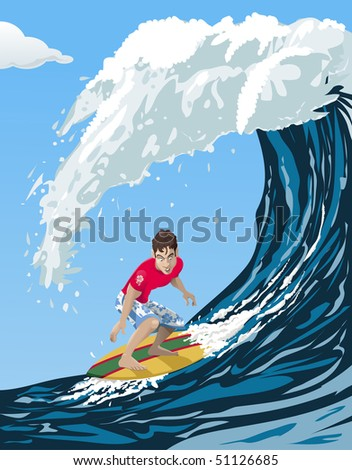 Computer-made illustration of a cool surfer riding a big ocean wave - Cartoon style - stock vector