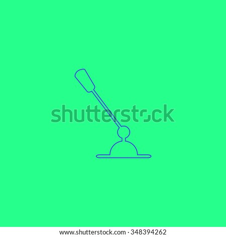 Computer microphone Simple outline vector icon on green background