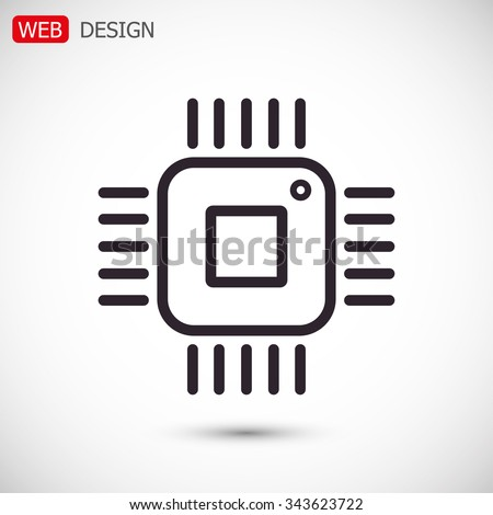 Computer microprocessor vector icon - stock vector