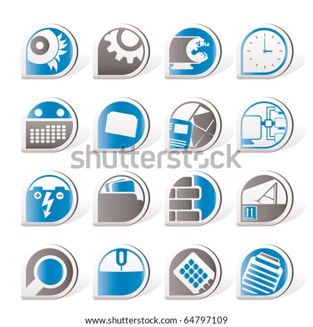Computer, mobile phone and Internet icons - Vector Icon Set - stock vector