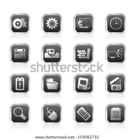 Computer, mobile phone and Internet Vector Icon Set