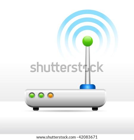 Computer modem antenna signal image - stock vector