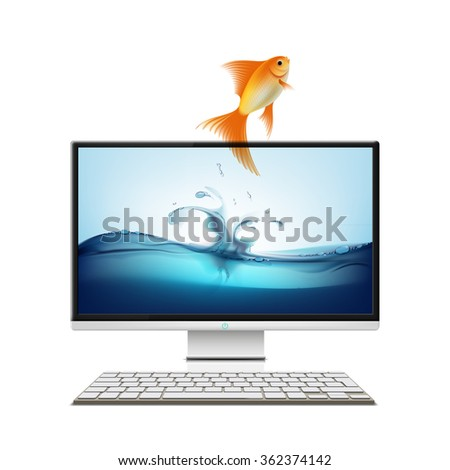 Computer monitor and goldfish. Screensaver. Isolated on white background. Stock vector illustration.