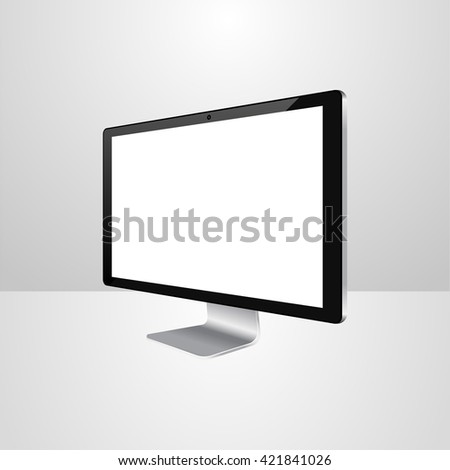 computer monitor icon, computer display blank, isolated computer display screen