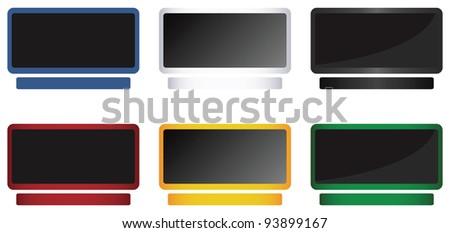 Computer monitor icons set - stock vector