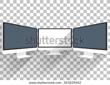 Computer monitor isolated. Computer monitor display. Computer display isolated. Black screen. lcd tv monitor isolated - stock vector