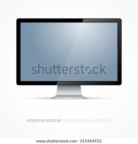 Computer monitor. Isolated vector illustration on white background - stock vector