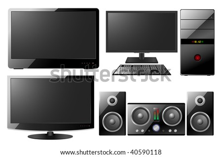 computer, monitor, music center