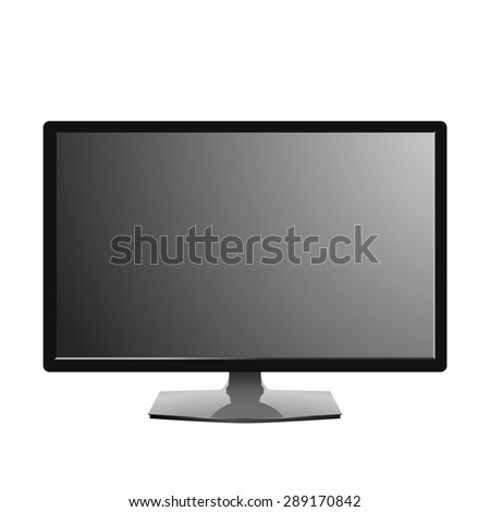 computer monitor with a blank gray screen. isolated on white. vector eps10 - stock vector