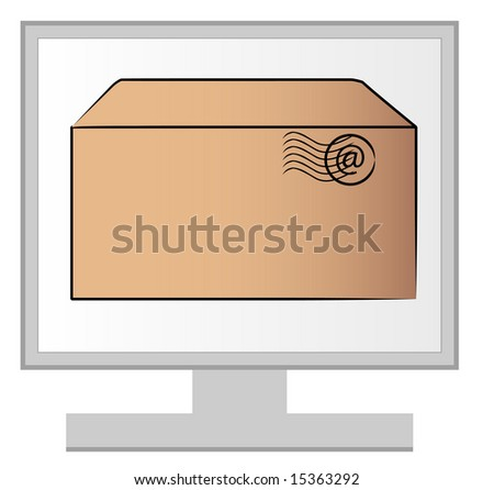 computer monitor with email letter on the screen - stock vector