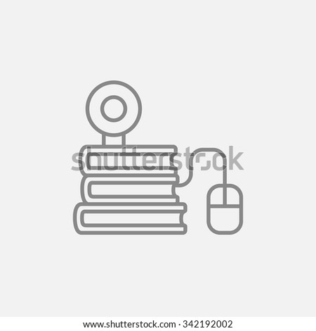 Computer mouse connected to a stack of books with webcam on it line icon for web, mobile and infographics. Vector dark grey icon isolated on light grey background. - stock vector