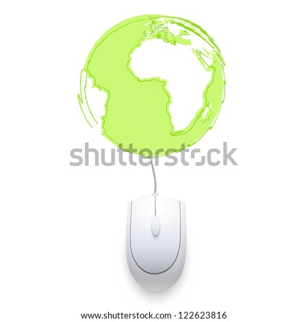 Computer mouse connected to a world icon. Vector design, - stock vector