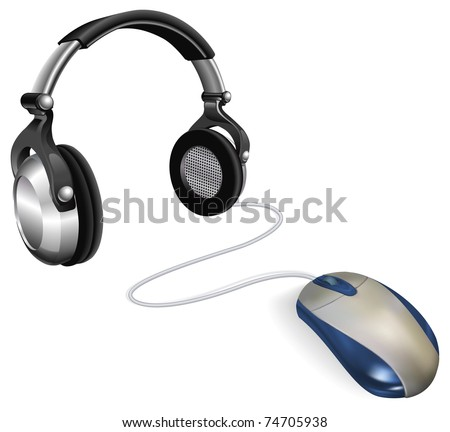 Computer mouse connected to big DJ headphones. Concept for online music. - stock vector