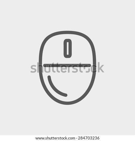 Computer mouse icon thin line for web and mobile, modern minimalistic flat design. Vector dark grey icon on light grey background. - stock vector
